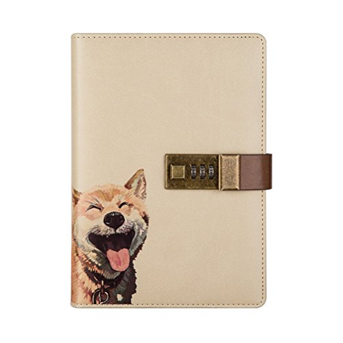 Crafted Notebook with Combination Lock Secret Diary Writing PU Leather Cute Animal Journal Notepad with Pen Holder for Girl and Boy Christmas or Valentine's Gift Refillable A5 112 Sheets (Dog)