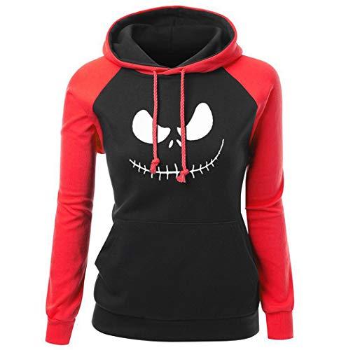 (Women's Sweatshirt Hoodie for Female Jack Skellington Pumpkin King Print Streetwear Slim Hip Hop Hoody red Black)