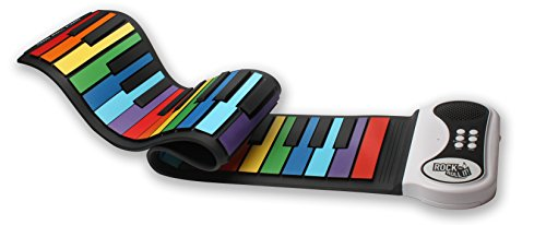 MukikiM Rock And Roll It - Rainbow Piano. Flexible, Completely Portable, 49 standard Keys, battery OR USB powered. Includes play-by-color song book!