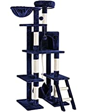 """rabbitgoo Cat Tree Cat Tower 61"""" Multi-Level Kitten House Condo with Scratching Posts & Hammock, Large Cat Stand Furniture Climbing Play House Center with Plush Perch for Indoor Activity"""