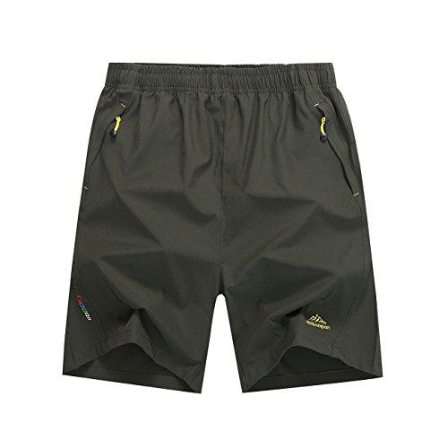 Mesitelin Men Outdoor Sport Zipper Pocket Short Casual Running Short (M,Army Green)