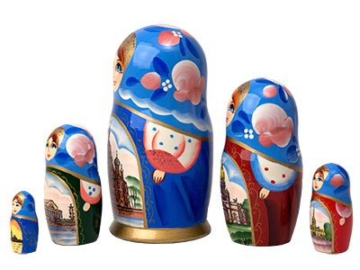 White Nights Russian Nesting Doll 5pc./6''