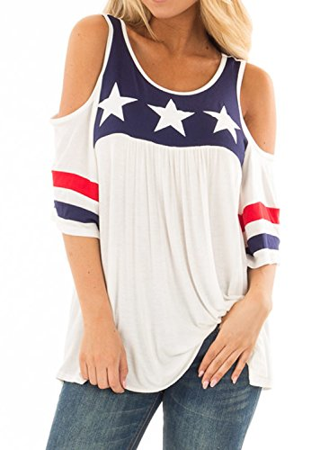 Striped Shirt Open Neck (Dearlove Women Cold Shoulder Striped Halft Sleeve T-Shirt Round Neck Casual Blouse Flare Tunic Tops American Print Tee Shirts White S 4 6)