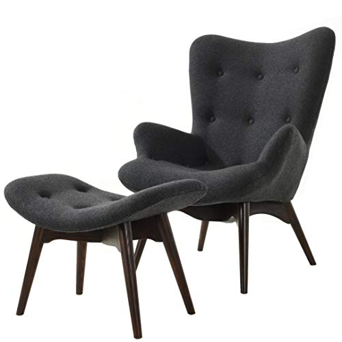 Poly and Bark Auzzie Lounge Chair and Ottoman in Grey