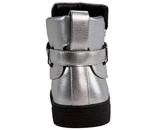 Sio Herre Metallisk Småsten Korn Høj Top Sneaker, Snøre Casual Sko Med Rem, Style Jupiter Sølv