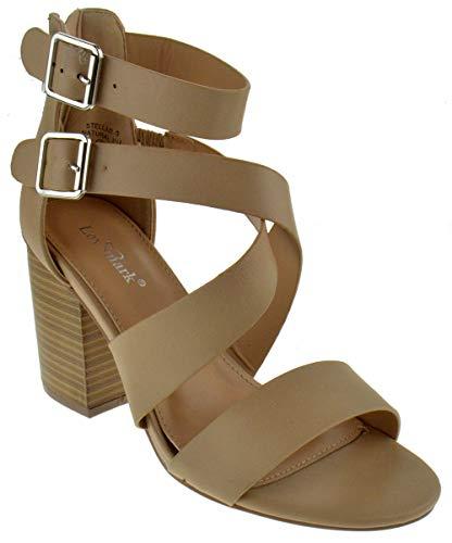 Ladies Mark - Lov Mark Stellar 9 Womens Chunky Heel Strappy Caged Platform Dress Sandals Natural 9