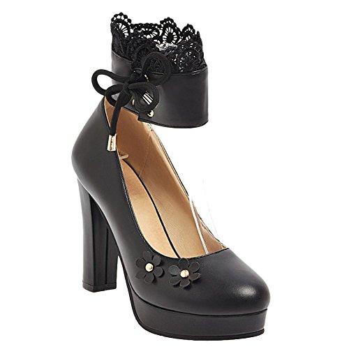 Mee Shoes Damen High Heels mit Spitzen Plateau Pumps Schwarz