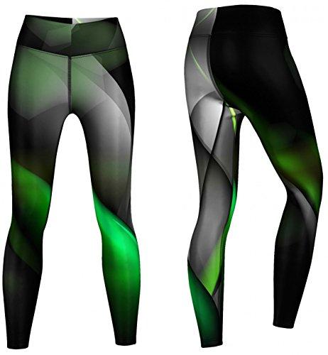 Glow Leggings sehr dehnbar für Sport, Gymnastik, Training, & Freizeit schwarz/grün