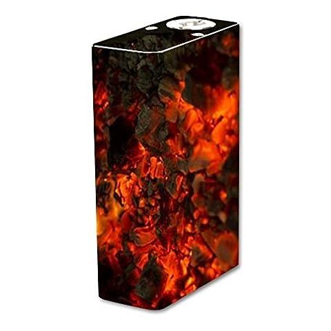 Tesla Two Vape E-Cig Mod Box Vinyl DECAL STICKER Skin Wrap / Sticker Skin Print Fire Blast Vape Glowing Embers Printed (Cool Fire 2 Vape Mod)