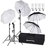 MOUNTDOG 800W Photography Umbrella Continuous Lighting Kit Photo Portrait Studio Day Light Umbrella Reflector Lights for Camera Shooting