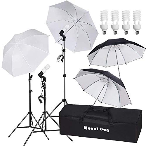 Studio Lighting Umbrella Light - MOUNTDOG 800W Photography Umbrella Continuous Lighting Kit Photo Portrait Studio Day Light Umbrella Reflector Lights for Camera Shooting