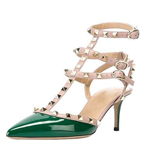 Leather Studded Bow Pumps - MINIVOG Women's Rivets Buckle Studded T-Strap Pointed-Toe Dress Sandals Green Patent US7.5