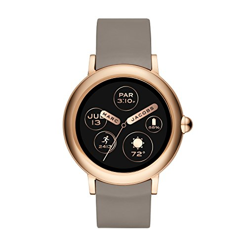 Marc Jacobs Women's Riley Stainless Steel and Silicone Smartwatch, Color: Rose Gold-Tone, Beige (Model: MJT2001)