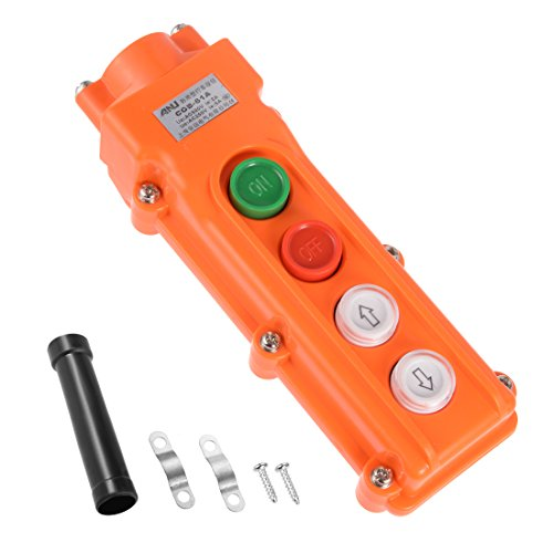 uxcell Rainproof Hoist Crane Pendant Control Station Push Button Switch Up Down On Off Orange