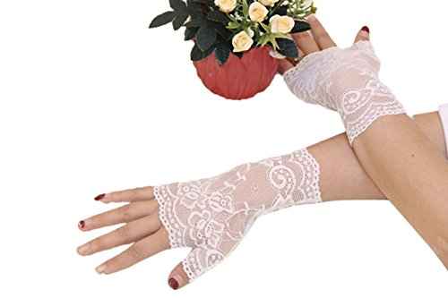 Ealafee Short White Lace Wedding Gloves for Brides Evening Bridal Half Fingers