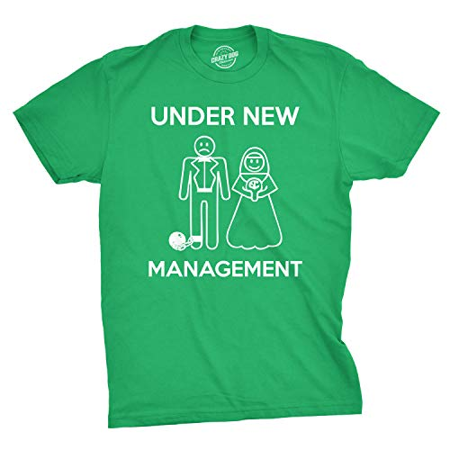 Mens Under New Management Funny Wedding Bachelor Party Novelty Tee for Guys (Green) - L