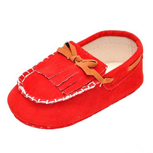 hibote Suede weiche Sohle Jungen Mädchen Baby-Kind bequeme warme Mokassin Schuhe rot