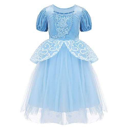 YONGHS 1/3/6/4/2 Pieces Kids Girls Short Puff Sleeves Fairy Tale Princess Fancy Dress with Accessories for Birthday Theme Party Sky Blue 5-6 ()