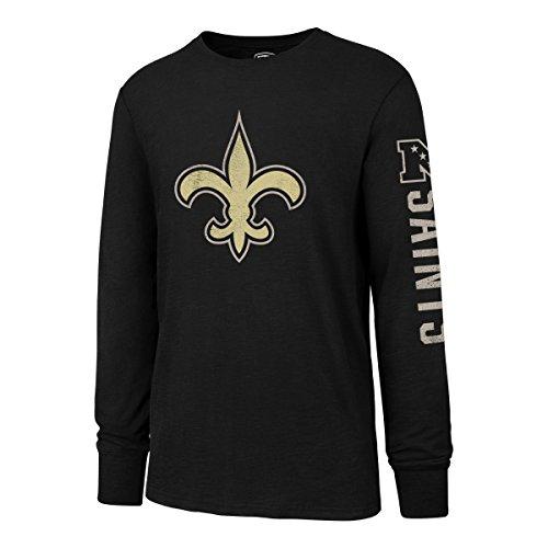 NFL New Orleans Saints Men's OTS Slub Long Sleeve Team Name Distressed Tee, Jet Black, Medium