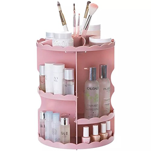 IEEK Pink Makeup Organizer Tray 360 Degree Rotating Adjustable Acrylic Cosmetic Storage Case,Fits Creams,Lipstick,Nail Polish,Brushes,Jewelry and More,10.65