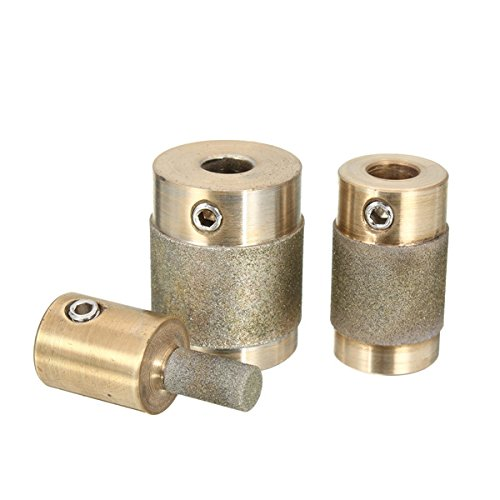 Kamas 3pcs Grinding Bits Set 1/4 3/4 1 Inch Stained Glass Grinder Head for Grinding Machine