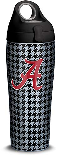 Insulated Alabama Bottle (Tervis 1314704 Alabama Crimson Tide Houndstooth Stainless Steel Insulated Tumbler with Black with Gray Lid 24oz Water Bottle Silver)