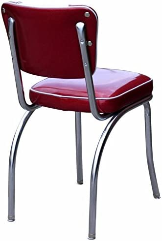 Richardson Seating Retro V-Back Diner Chair with 2 Box Seat, Glitter Sparkle Red Glitter Silver