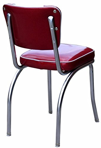 """Richardson Seating 4220ZBU Retro V-Back Diner Chair with 2"""" Box Seat, Glitter Sparkle Red/Glitter Silver"""