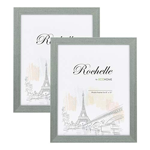 (8x10 Picture Frame Grey Wood - 2 Pack - Wall Mount Desktop Display, Frames by EcoHome)