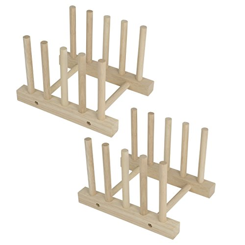 Fasthomegoods Set of 2 Modern Homes Multi-purpose Wooden Plate Pot Lid Organizer Rack