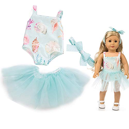 Denzar 18 Inch Alive Baby Doll Handmade Lovely Dress Clothes Outfits Costumes Dolly Pretty Doll Clothes-Hair Belt, Jacket, Skirt (Blue) ()