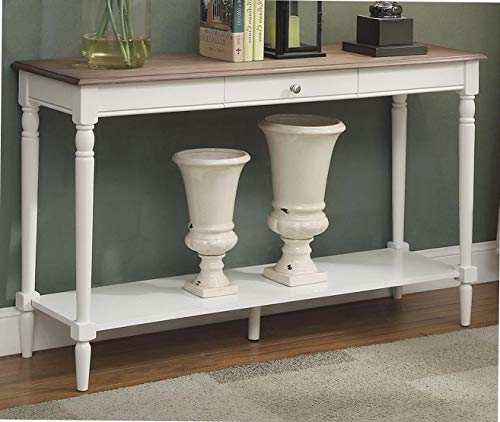 (Cоnvеniеncе Cоncеpts Home Decor French Country Console Table with Drawer and Shelf, Driftwood)