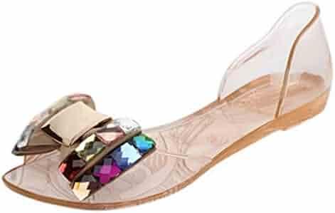 f7d7293ff89a94 Maybest Women Summer Bling Bowtie Peep Toe Jelly Sandal Flat Shoes