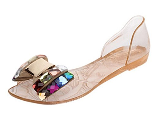 Minetom Women Summer Bling Bowtie Peep Toe Jelly Sandal Flat Shoes Gold 9 B (M) US