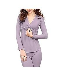 Lookwoild Womens Maternity Nursing Pajama Sets Long Sleeve Breastfeeding Underwear Set Soft Nursing Shirts, Pregnancy Pants