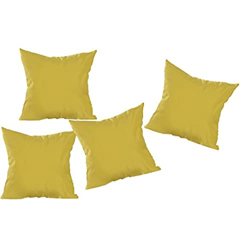 Deconovo Super Soft Home Decorative Pillowcase Cushion Cover With Invisible Zipper For Chair 18 x18-Inch, Golden Yellow, Double Lined, Set Of (Indoor Chaise Chair Cover)