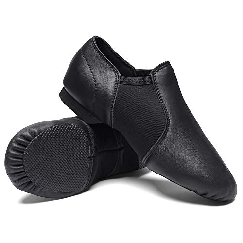 STELLE Leather Jazz Slip-On Dance Shoes for Girls Boys Toddler Kid (1MB, Black)