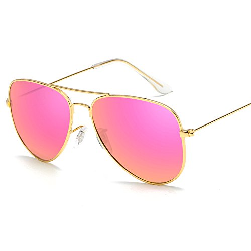 Kaimao Classic Aviator Sunglasses Reflective Mirror Lens Metal Frame Polarized Sunglasses for Men Women with Case and Cloth - Gold and Purple ()