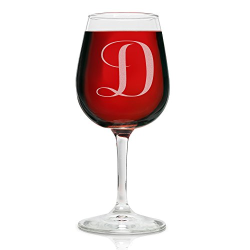 quotDquot Monogram Engraved Wine Glass  1275 Ounce  Personalized Etched Gift Perfect for Bridesmaids Women Red and White Wine Enthusiasts Decorated Novelty All Purpose Glass By On The Rox Drinks