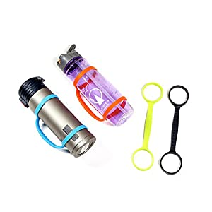 AoQing Water Bottle Carrier Grip for Running Walking Hiking, Bike, Gym, Jogging and Other Outdoor Activities, Bottle Band Fit Most Sports or Plastic Bottles. (Middle Size)(Pack of 4)