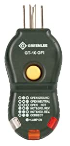 Greenlee GT-10GFI quick and easy GFCI Electric Socket/Circuit Polarity Tester includes trip tester