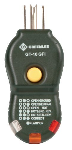 Greenlee GT-10GFI quick and easy GFCI Electric Socket/Circuit Polarity Tester includes trip tester by Greenlee
