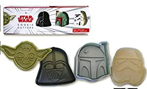 Star Wars Heroes and Villains Set of 4 Cookie Cutters: Yoda, Darth Vader, Boba Fett and Stormtrooper