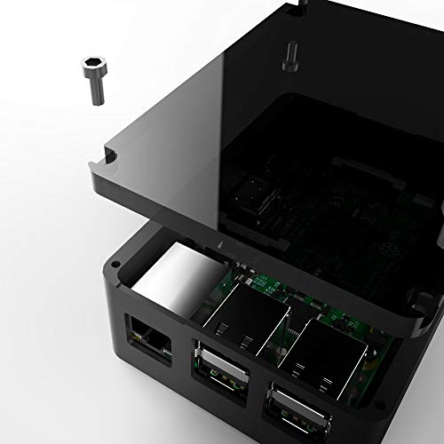 ZkeeShop Protective Case Aluminum Case with Heatsink Compatible for Raspberry Pi 4 Model B Black Not Include Raspberry Pi Board