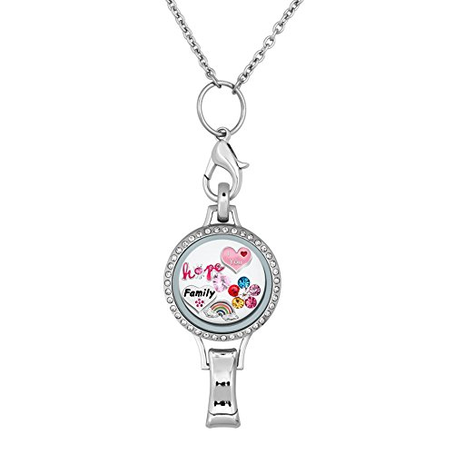 Q&Locket Love Family Floating Charms In ID Badge Holder Glass Locket Lanyard Necklace