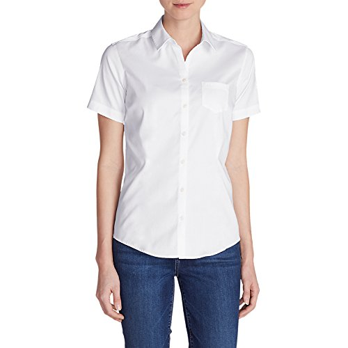 4a8c212106e3f5 Eddie Bauer Women's Wrinkle-Free Short-Sleeve Shirt - Solid, White M  Regular - Buy Online in Oman. | Apparel Products in Oman - See Prices,  Reviews and Free ...
