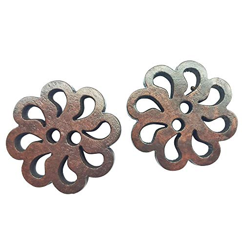 Chenkou Craft New Hollow Flower Wood Buttons 20mm Sewing Craft Brown Wholesale 50pcs