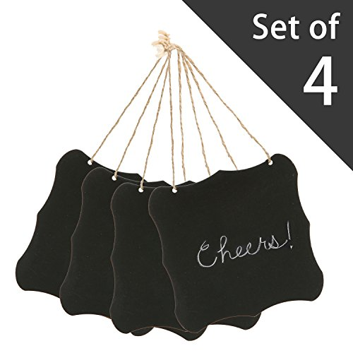 MyGift 6-Inch Hanging Black Vintage Style Frame Jute String/Wall Dcor Wooden Chalkboard Signs, Set of 4