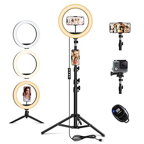 """Ringlicht mit Stativ, ZENUTA 10.2"""" LED Selfie Ringleuchte Handy, Doppel-Handyhalter mit 3 Farbe und 10 Helligkeitsstufen, Licht für Tik Tok, YouTube, Make-up, Live-Stream, Fotografie"""