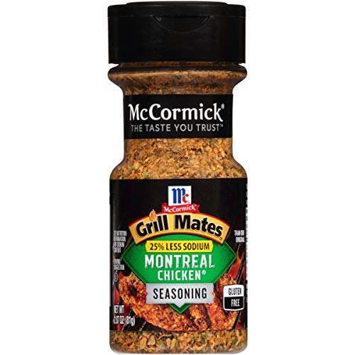 McCormick Grill Mates 25% Less Sodium Montreal Chicken Seasoning, 2.87 oz, Refreshing Citrus Tastes, Less Salt Lets You Can Enjoy Without Guilt, Just One Tablespoon Fills Your Plate with Flavor